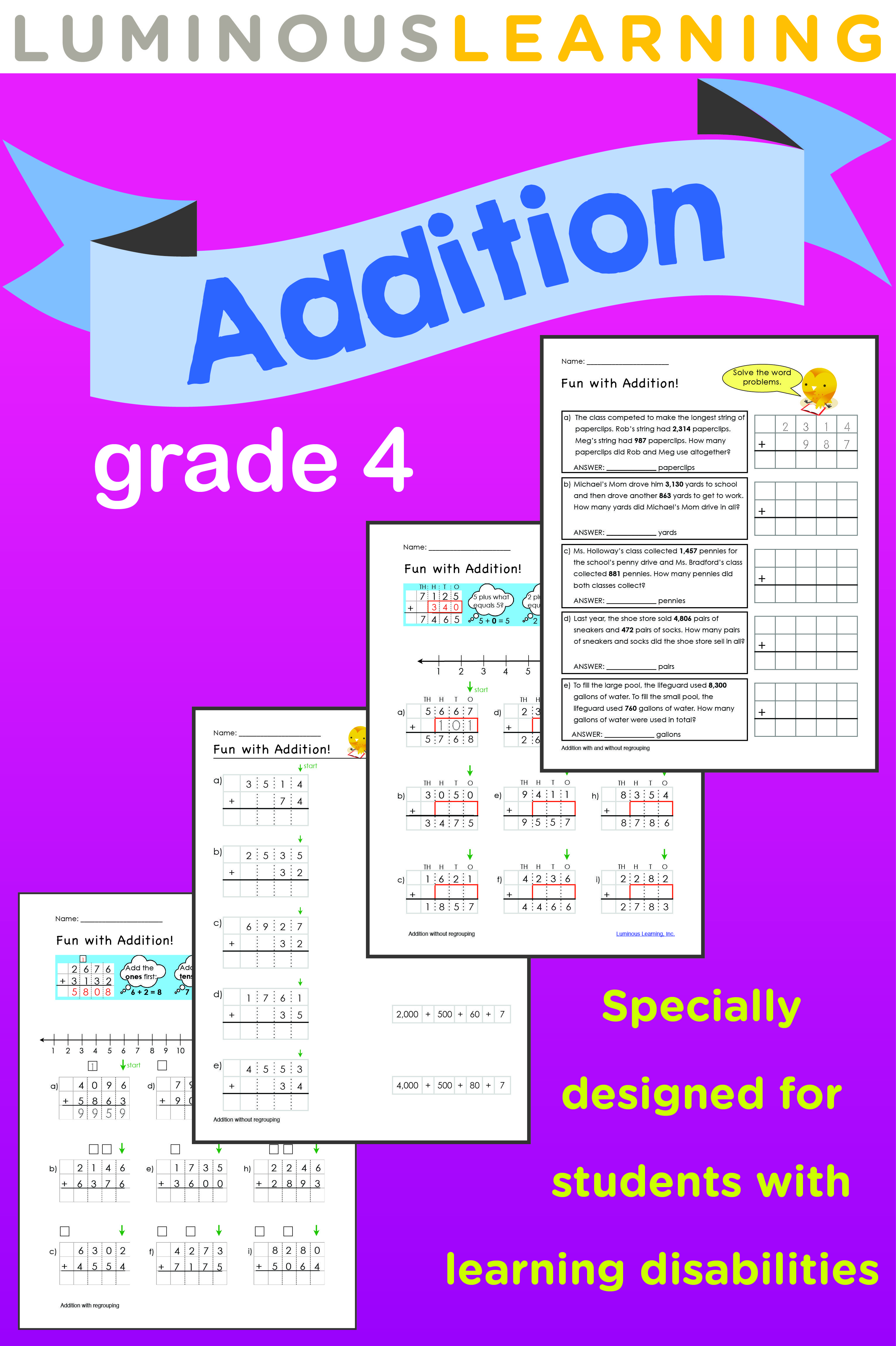 Grade 4 Addition Printable Workbook | Graph paper, Worksheets and ...
