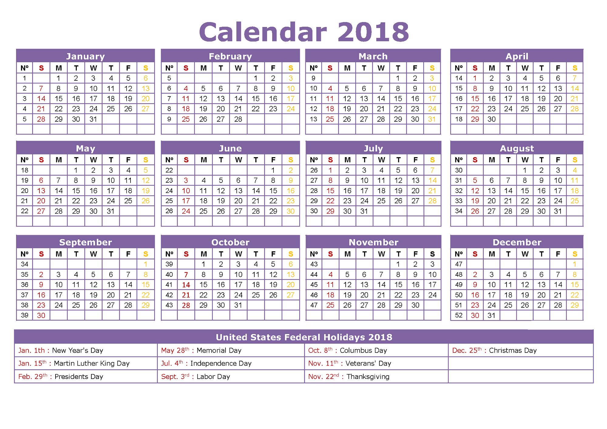 Yearly Calendar Printable Free