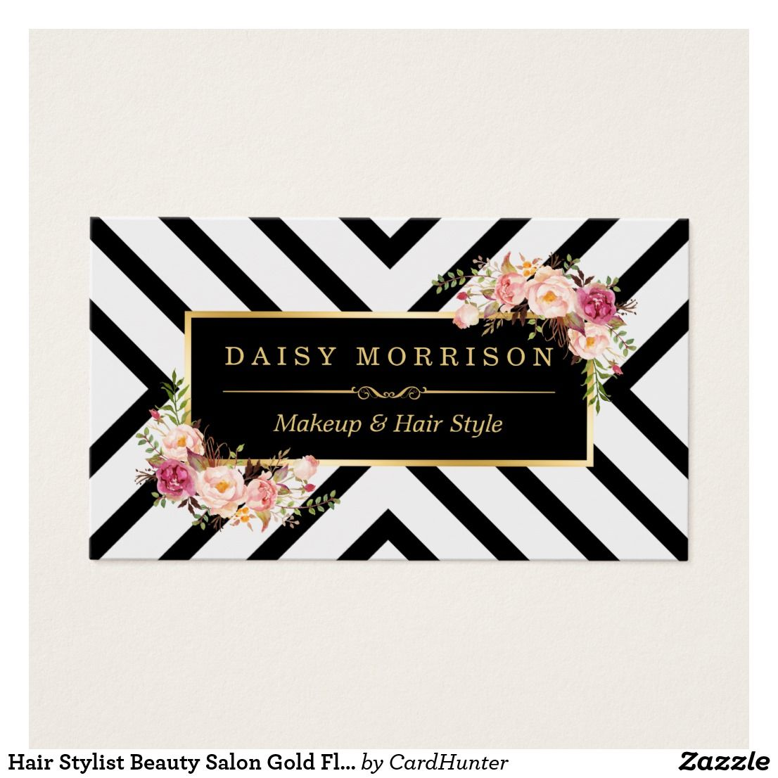 Hair Stylist Beauty Salon Gold Floral Appointment Zazzle Com In 2021 Salon Business Cards Salon Gold Floral Business Cards