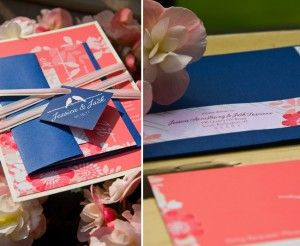 Coral and Navy Lovebird Wedding Invitation
