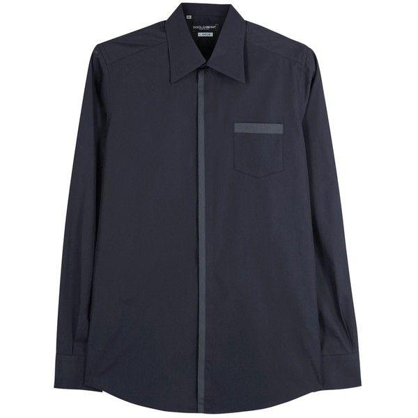 Dolce & Gabbana Navy Cotton Shirt (12.150 RUB) ❤ liked on Polyvore featuring tops, cotton shirts, dolce gabbana top, curved hem shirt, navy shirt and shirt tops