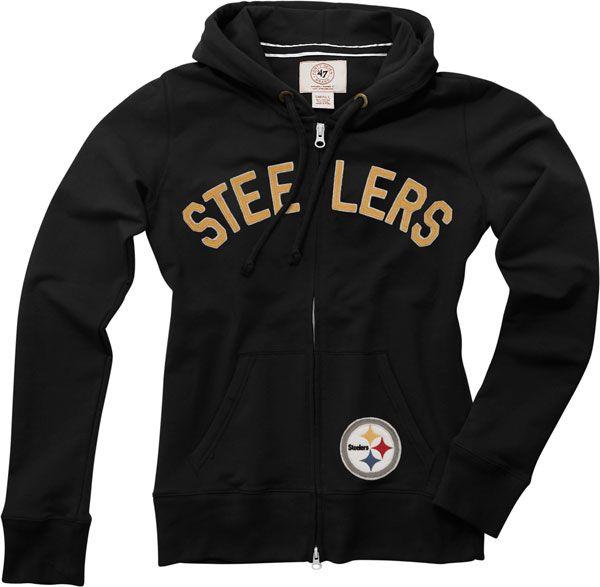 Pittsburgh Steelers Women's Black '47 Brand Pep Rally Full-Zip Hooded Sweatshirt | Plus Size NFL Merchandise | OneStopPlus