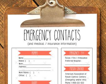 Emergency Contact Form For Nanny Babysitter Or Daycare Printable