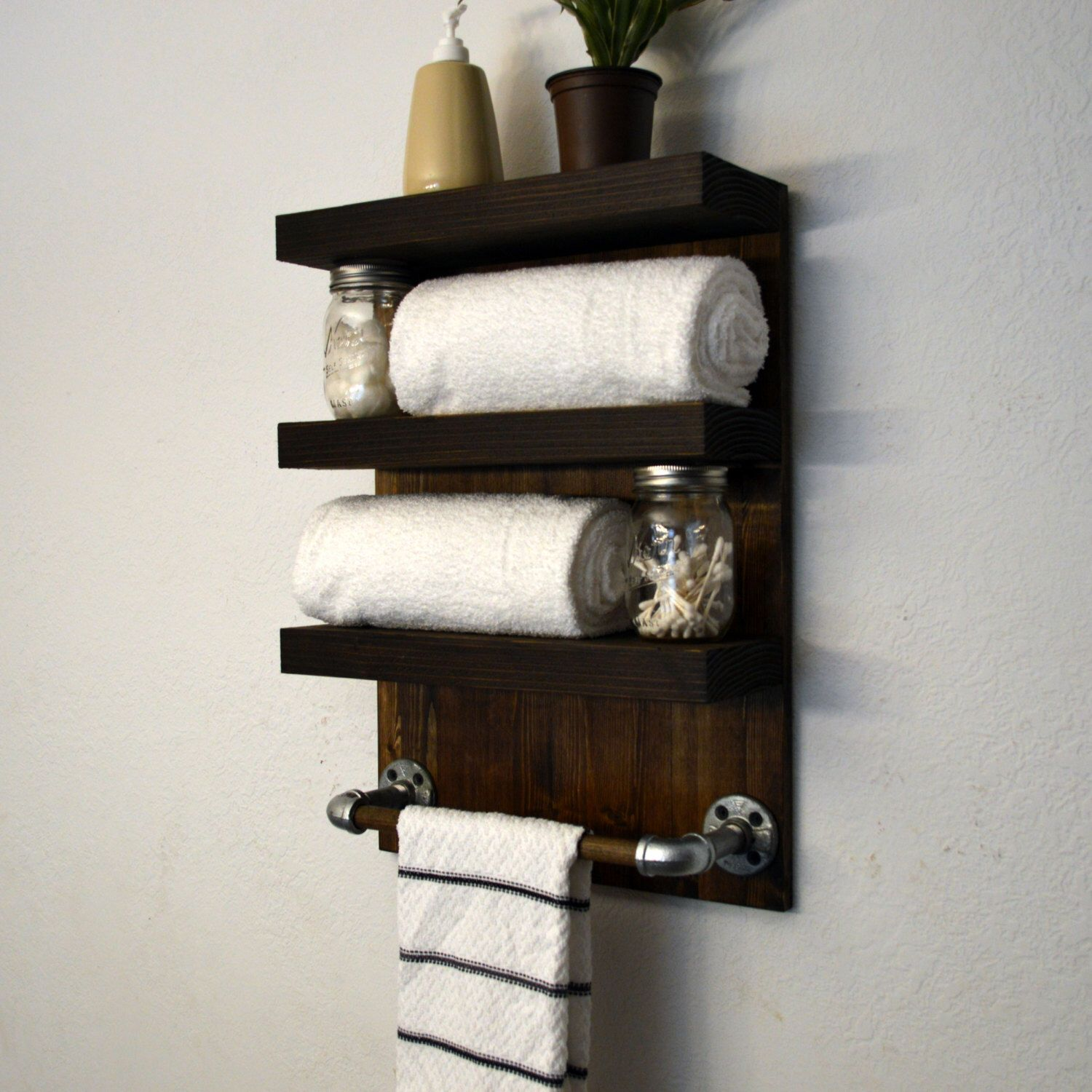 Three Tier Bathroom Shelf with Towel Hooks | Bathroom towels, Dark ...