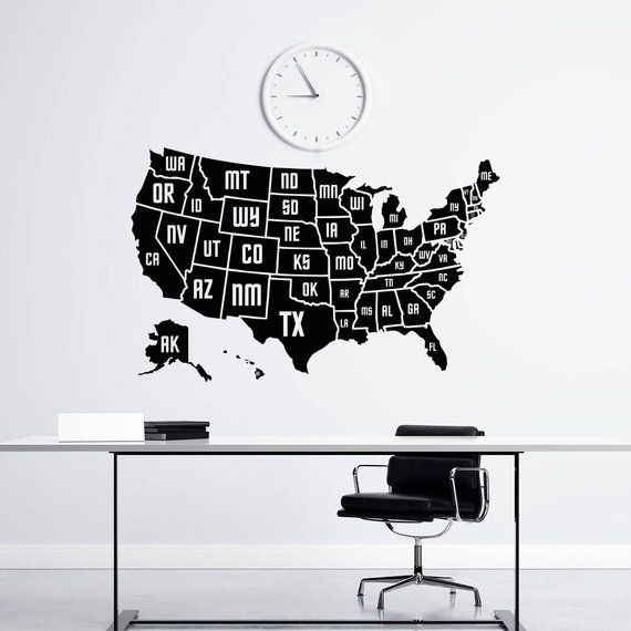 Wall Decal Usa America Map Map Of The United States Geography