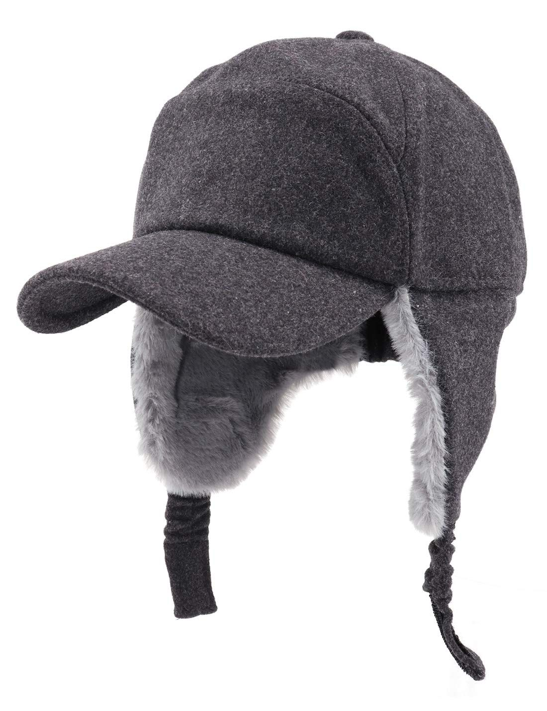 Gisdanchz 7-7 1//2 Wool Baseball Hat with Visor and Ear Flaps Winter Warm Cap for Men Women
