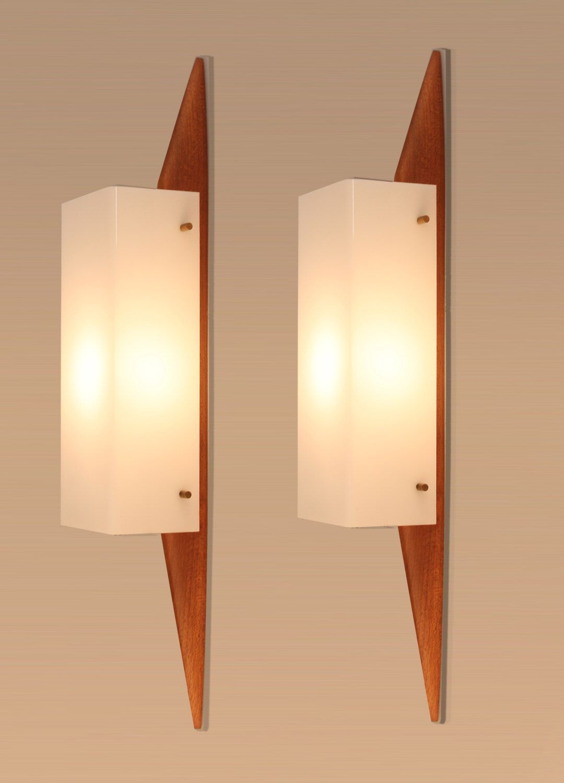 pair of s danish mid century wall light lamp sconce  teak  - pair of s danish mid century wall light lamp sconce  teak eames juhlandersen