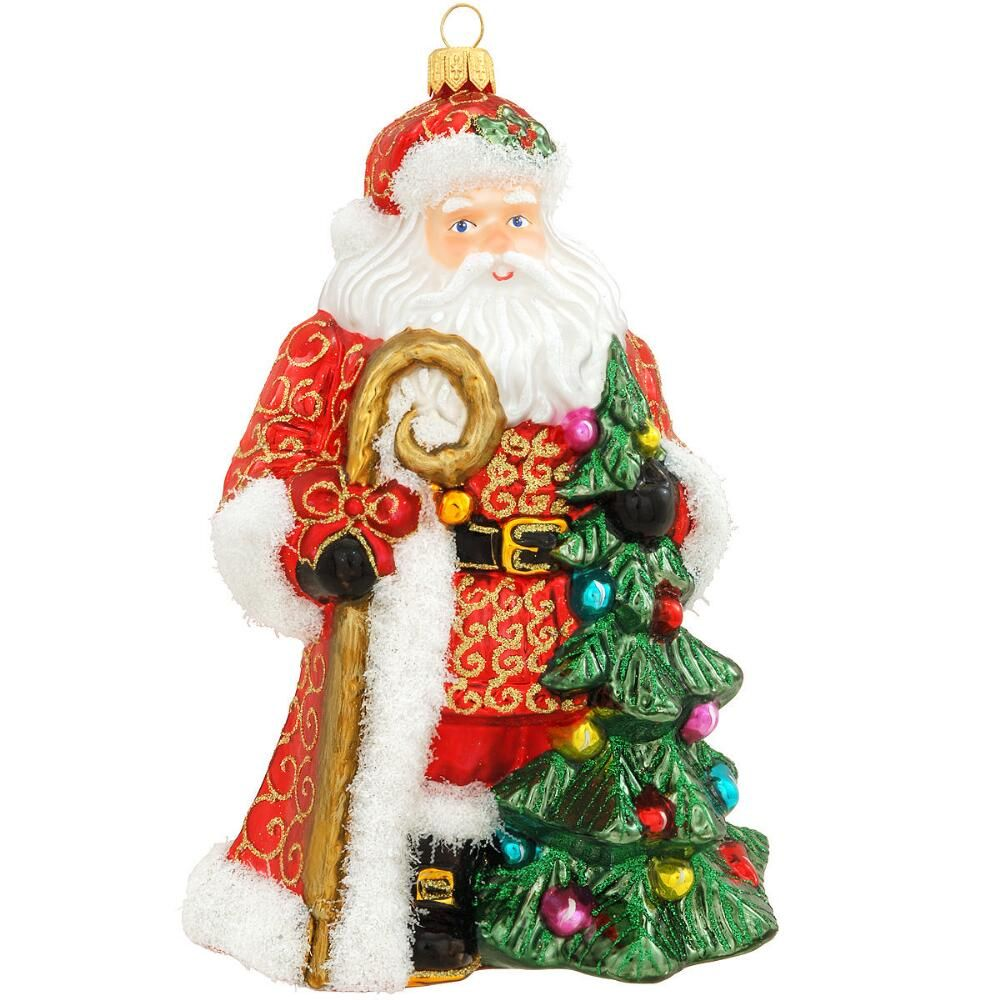 Victorian Father Christmas Decorations: Victorian Santa With Tree Glass Ornament $30.99