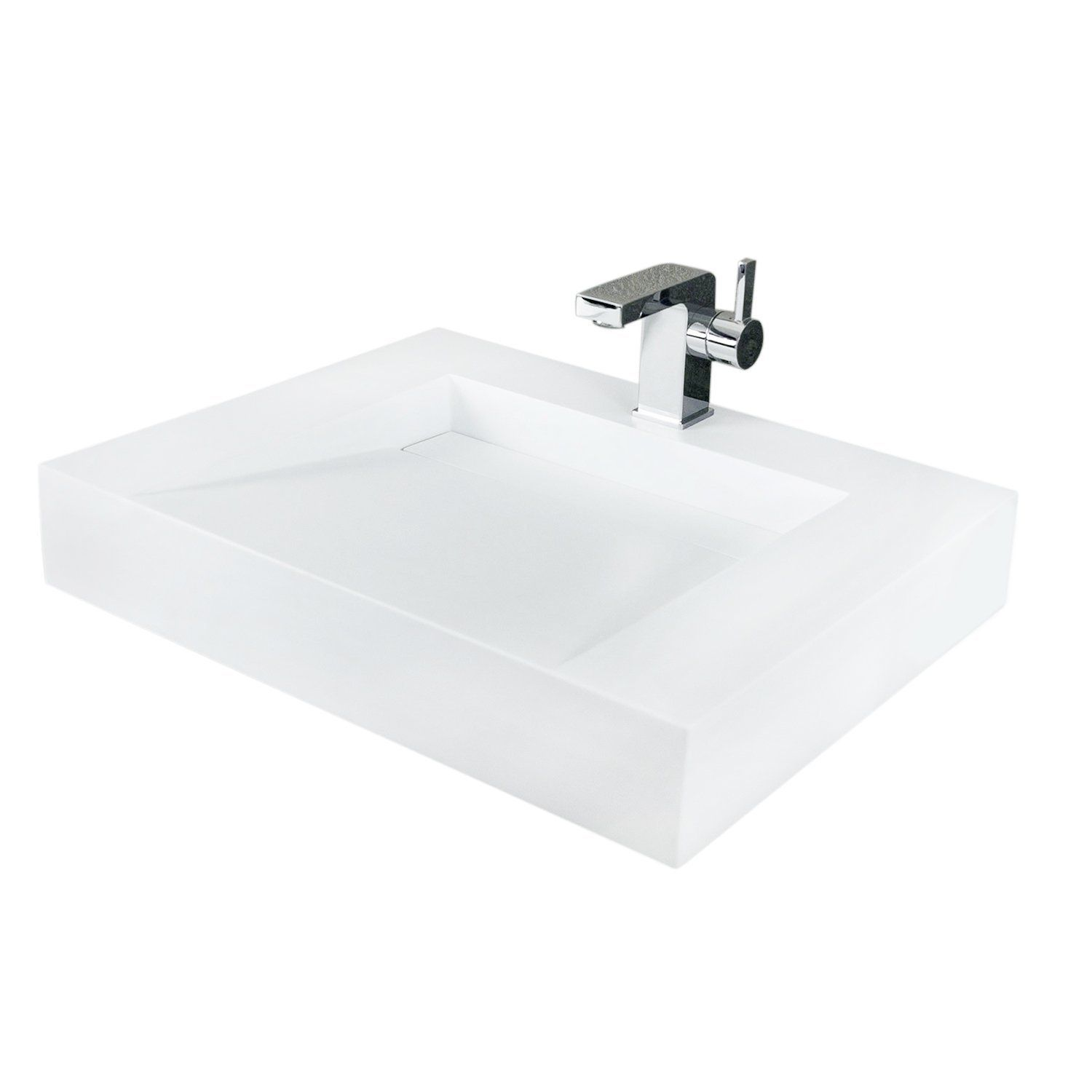 Dax Solid Surface Rectangle Single Bowl Top Mount Bathroom Sink