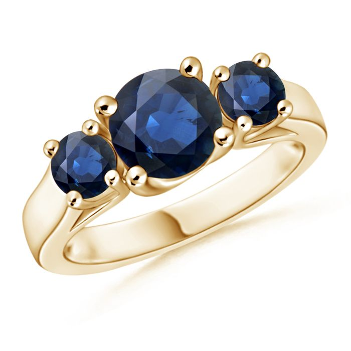 Angara Classic Blue Sapphire Three Stone Cathedral Ring in 14k White Gold DZb8MQlKVY