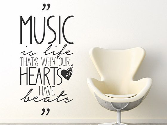 Küche 80 Musik Music Is Life That's Why Our Hearts | Wandtattoo ...