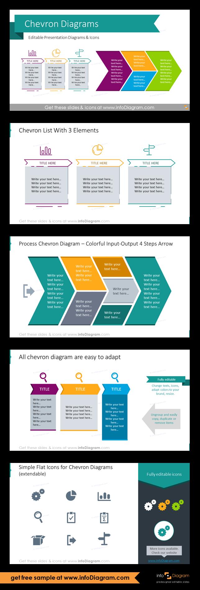 Set of editable PowerPoint Chevron Timeline Diagrams to