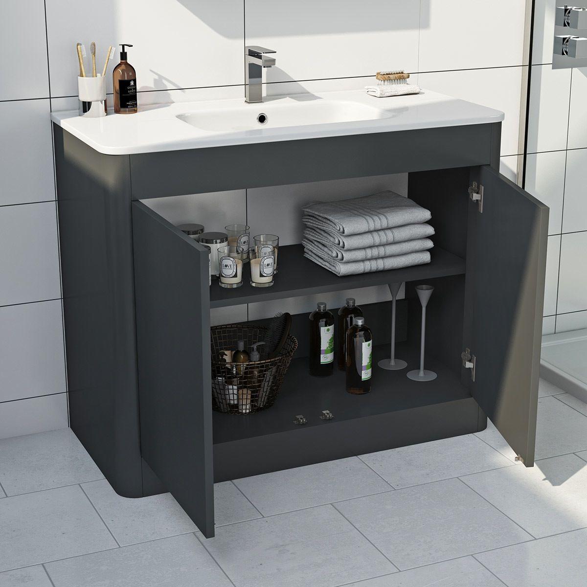 Mode Carter Slate Gloss Grey Floorstanding Vanity Unit And Ceramic