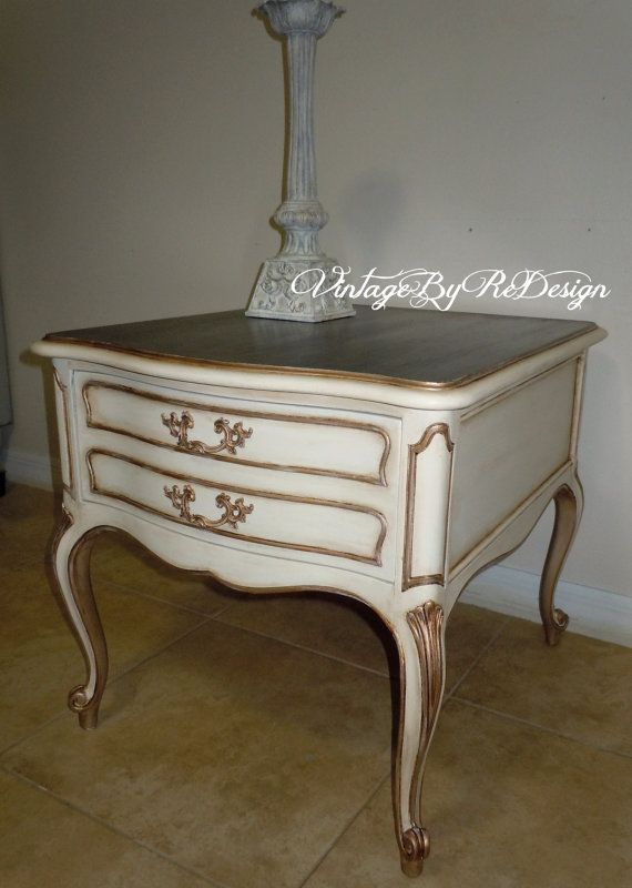 Charmant French Provincial Side Table Hand Painted In By VintageByReDesign