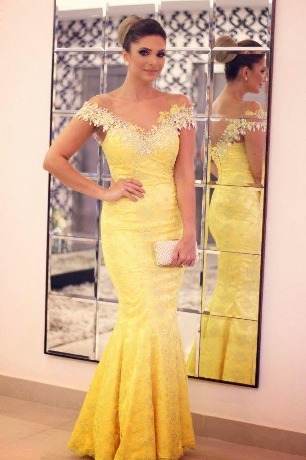 Vestido sereia renda amarelo
