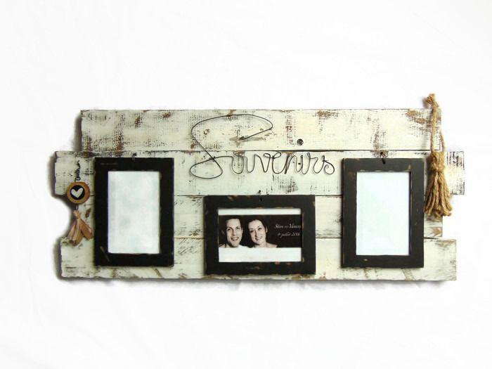Cadre photos en bois de palette et fil de fer de style industriel