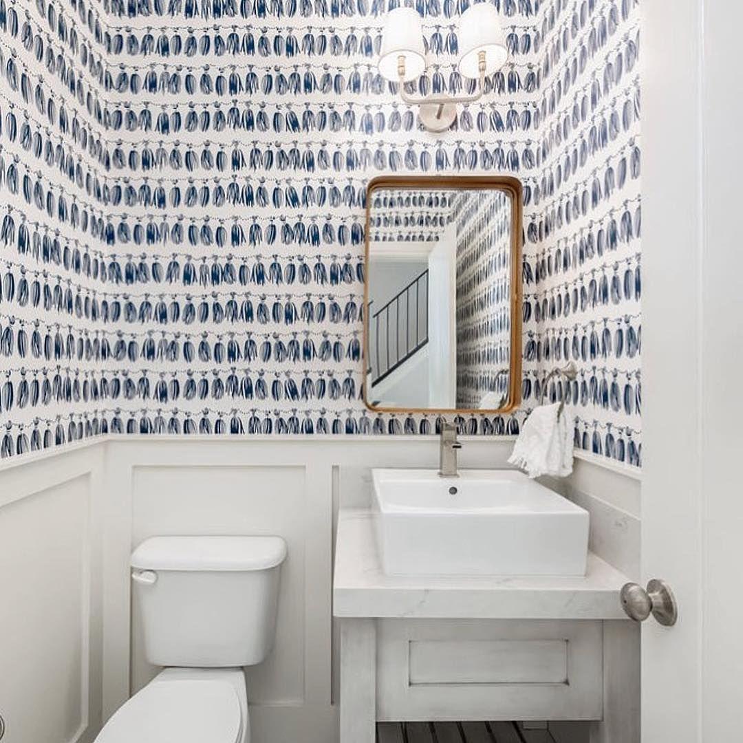Blue White Tassel Wallpaper Via Hygge West Powder Room Design All White Bathroom Bathroom Design