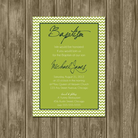Baptism - A Personalized Invitation. $15.00, via Etsy.