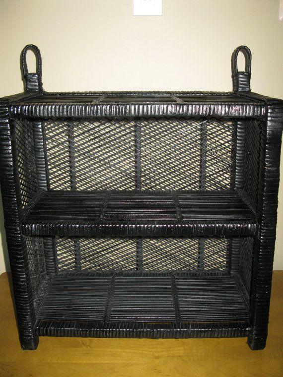 Stunning Black Wicker And Bamboo Shelf