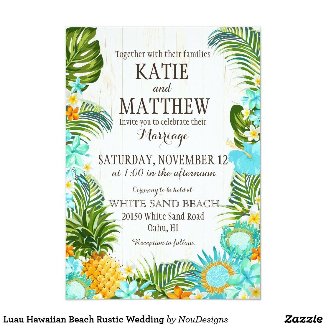 Luau Hawaiian Beach Rustic Wedding Card | Luau, Floral wedding and ...