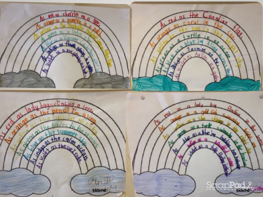 Rainbow Similes Students Wrote A Simile For Each Colour