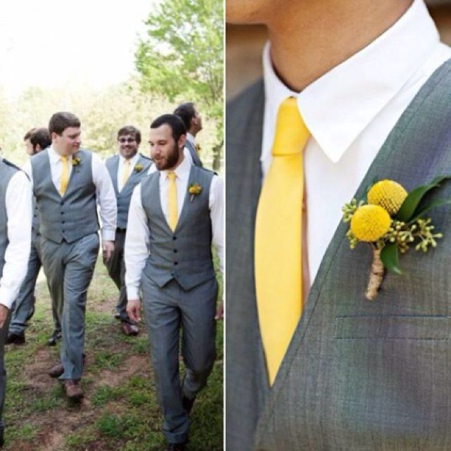 Grey suits + yellow ties and boutonnieres (not yellow, but yes to ...