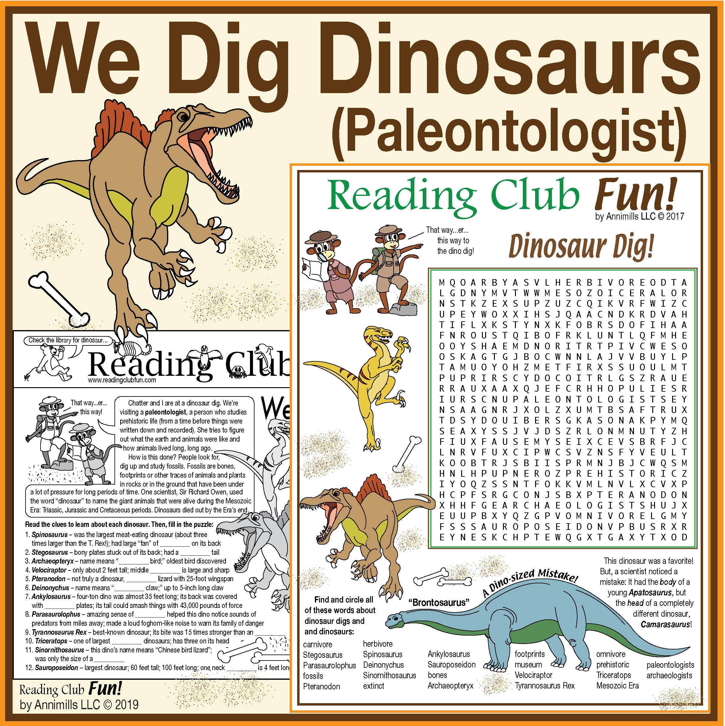 Dinosaurs We Dig Them Paleontologist And Dinosaur Set