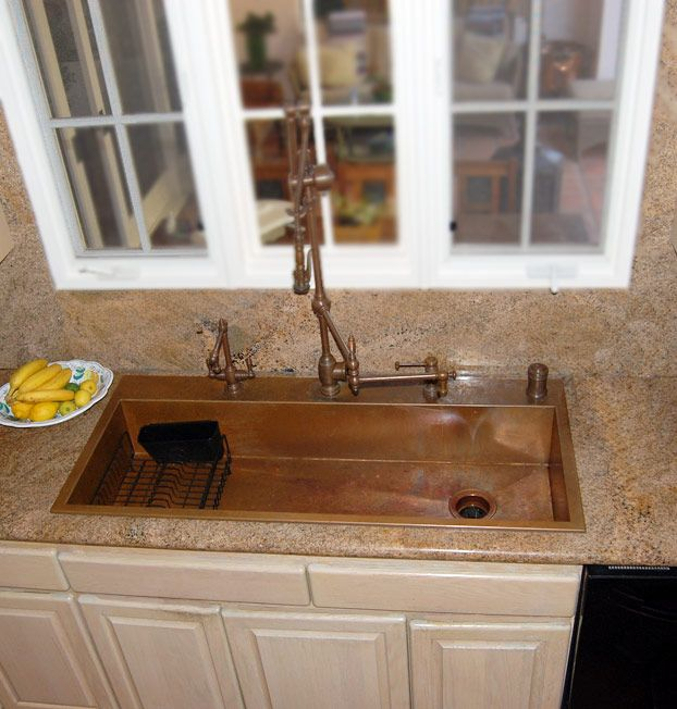 top mount single bowl copper sink with gantry faucets