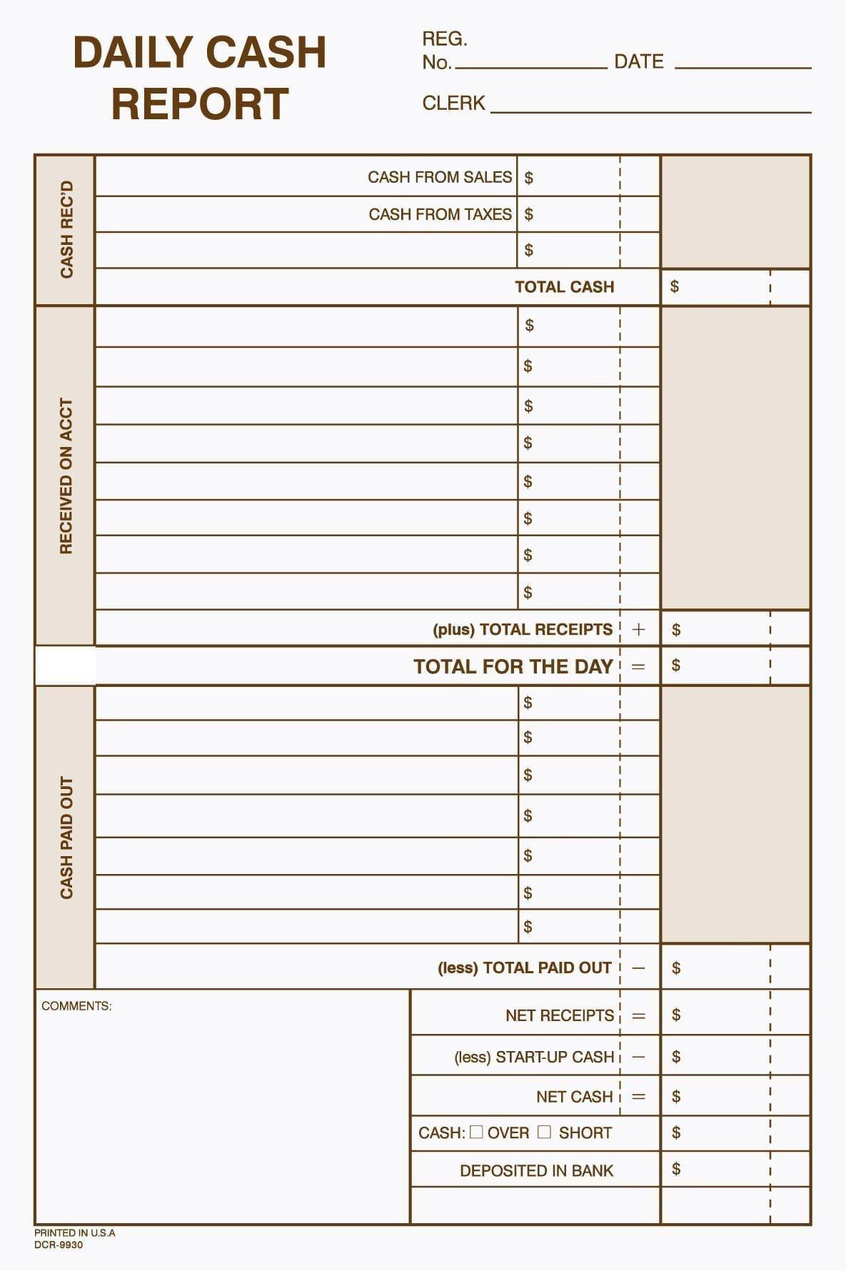 Daily Cash Report Envelope Business Organization Printables Cash Management Cash