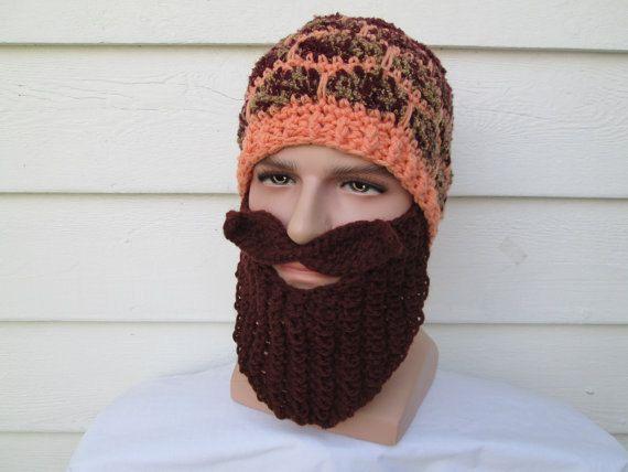 Crochet bearded beanie viking hat barbarian hat with beard mustache viking beard hat Bearded hats Best Gift For Dad Long beard facewarmer #crochetedbeards