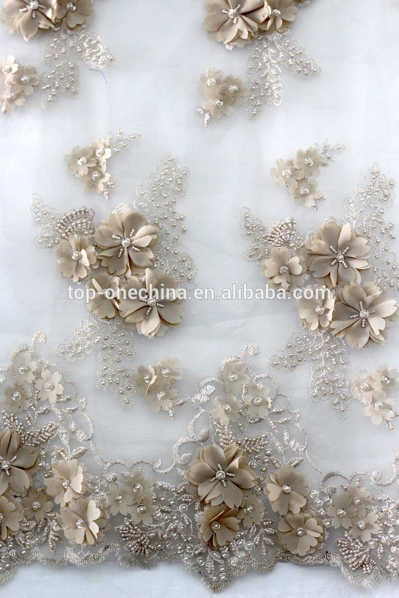 Unique flower handwork embroidery D beaded French wedding net lace fabric View embroidery beading lace