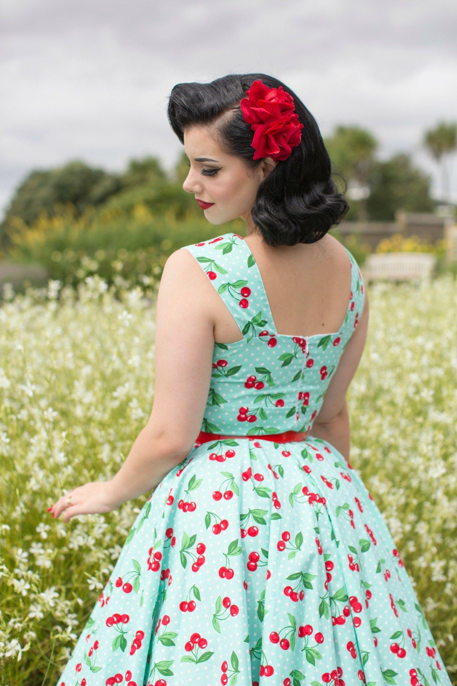 Cherry Print Dress Rockabilly Dresses Pigtails And Pirates Pigtails And Pirates Ladies