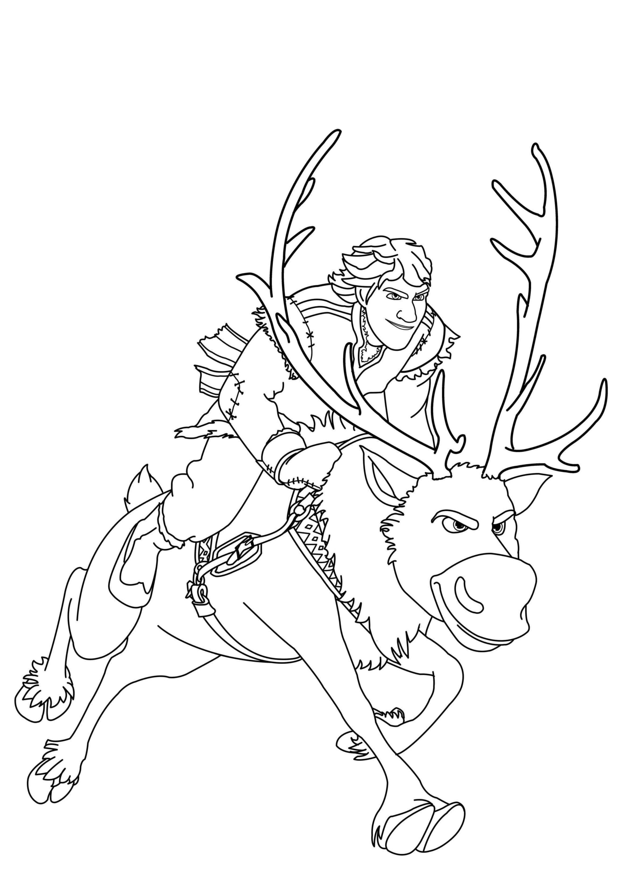 Coloring Frozen Kristoff Sven Jpg 2372 3371 Kids Coloring Pages
