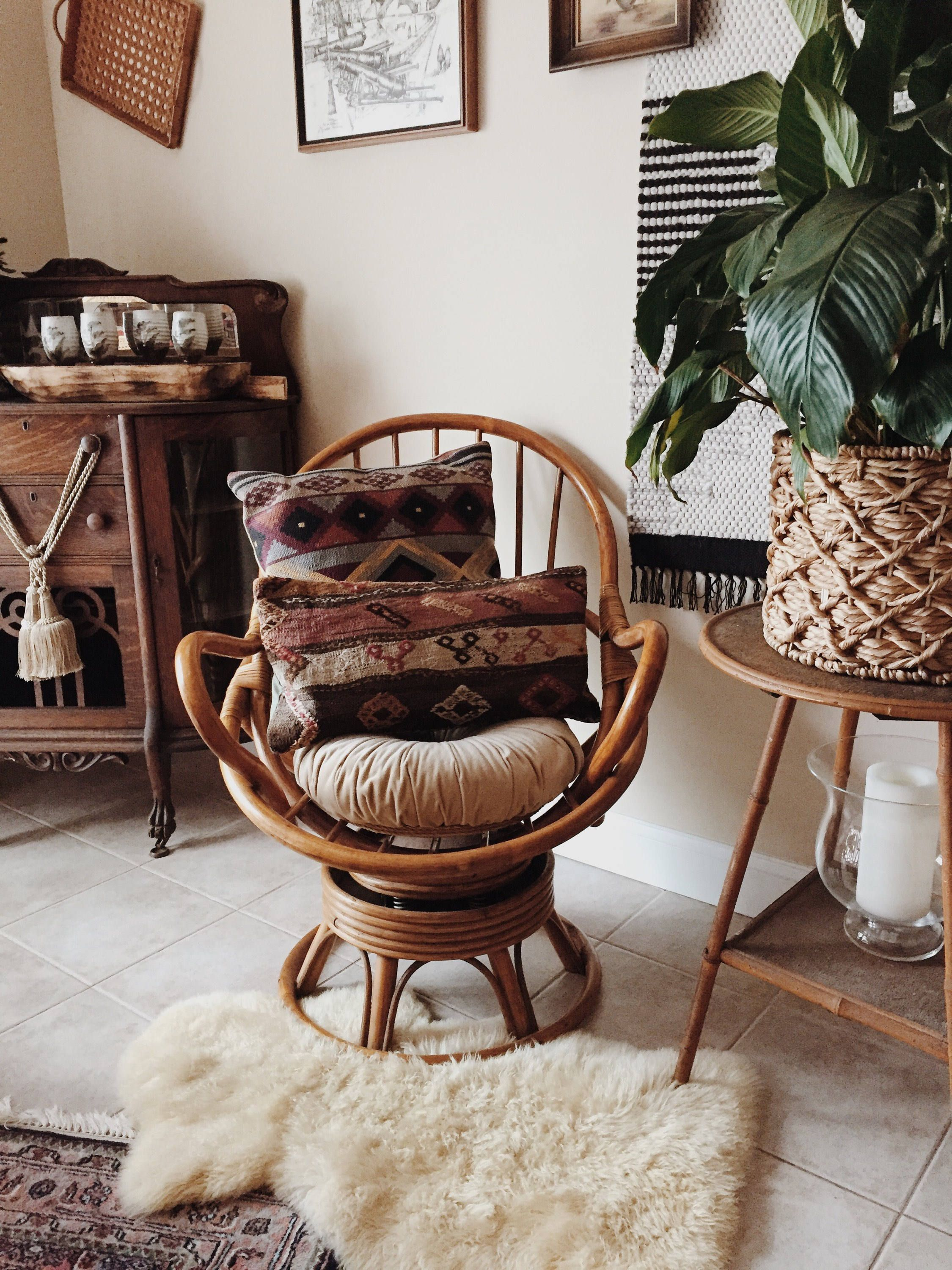 swivel chair cushions midcentury modern mid century rattan vintage bamboo boho not included condition great