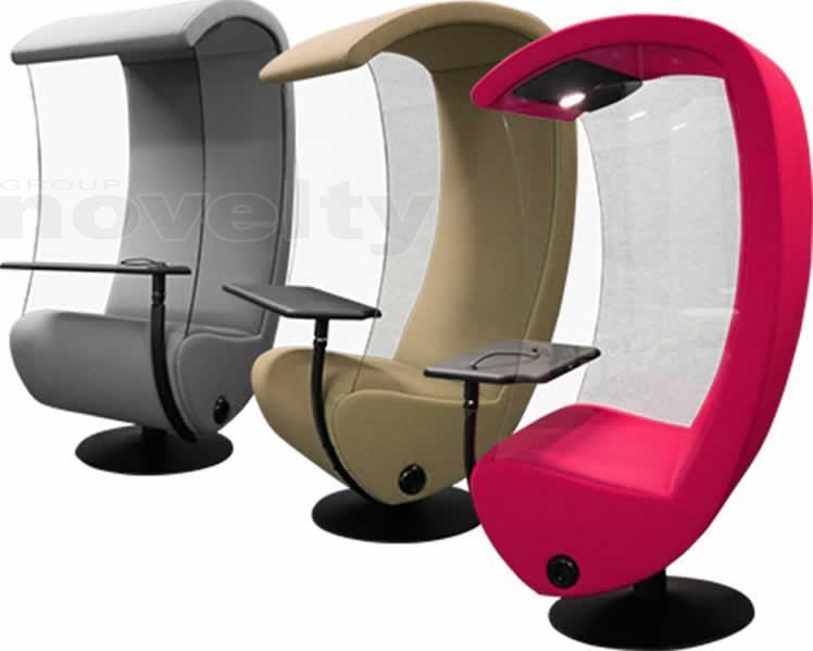 fauteuil acoustique compact verre s curit et rotation 350 tablette pivotante prise lectrique. Black Bedroom Furniture Sets. Home Design Ideas
