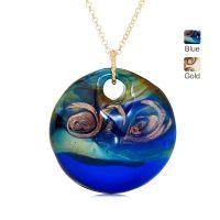 Murano di Francesca Glass Disc Pendant w 18ct YGP SS Chain
