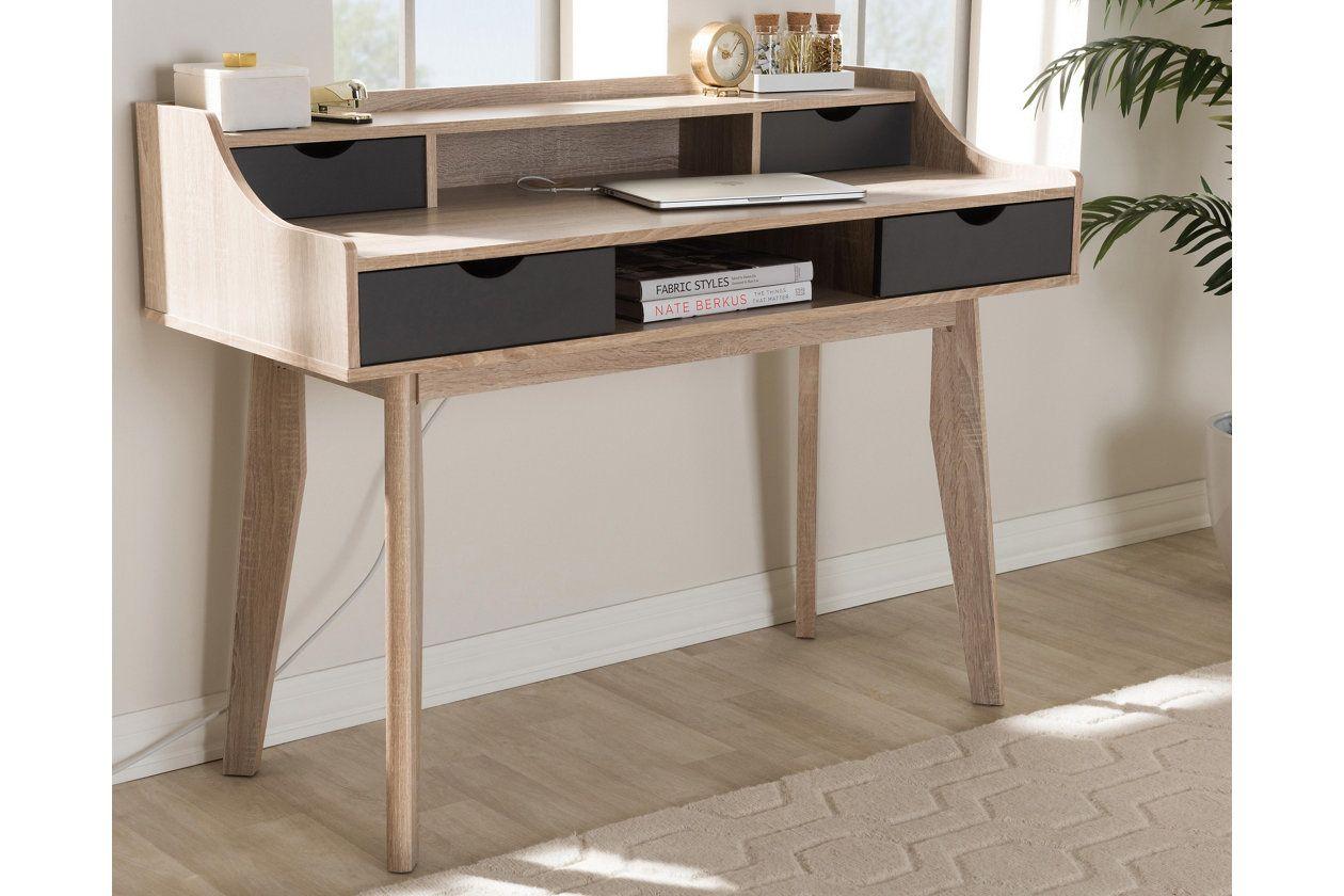 Fella Mid Century Modern Study Desk Ashley Furniture Homestore Grey Desk Study Desk Modern White Dining Chairs