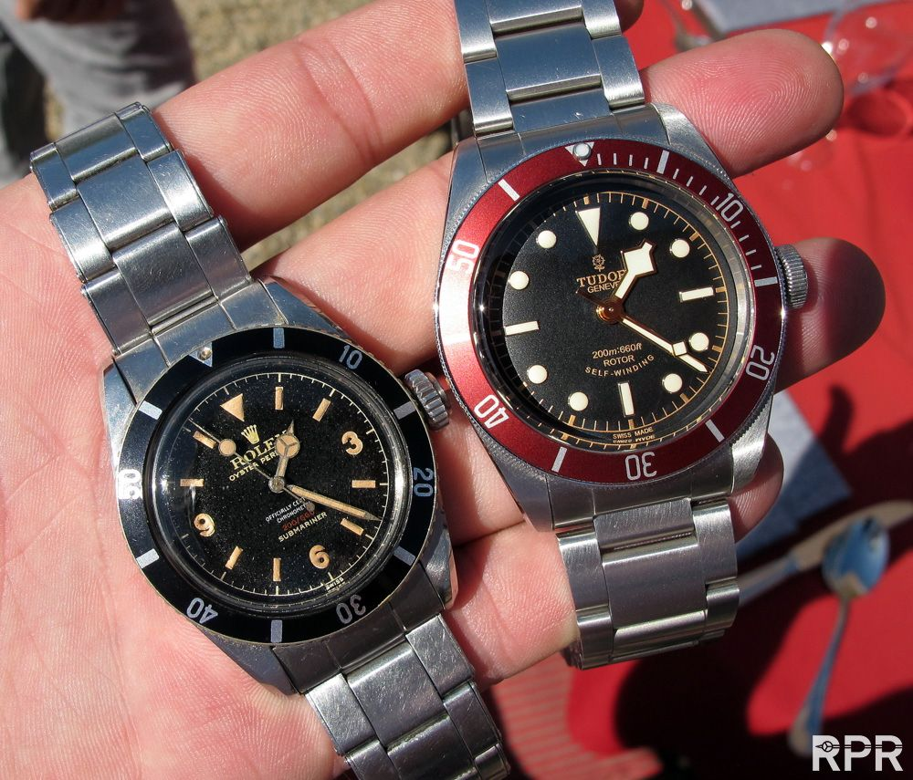 Gawwd I love the original Big Crown Sub.!!! At least we have the new Tudor Heritage 'Black Bay' on the right. Ref. 79220R. 41mm. Comes with either a steel bracelet or leather strap with folding clasp, plus, an additional fabric strap with either. http://www.tudorwatch.com/en/heritage-black-bay/# (Click on photo for larger image.) Photo found here: http://rolexpassionreport.com/8745/50th-james-bonds-dr-no-rolex-big-crown-anniversary/#!prettyPhoto