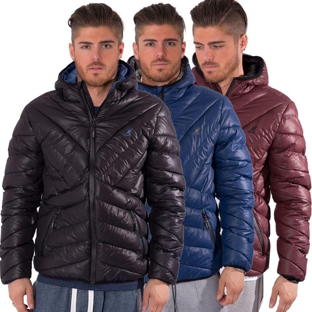 54b4a45584 Kangol Mens Quilted Puffer Zip up Jacket Streetwear Hooded Winter ...