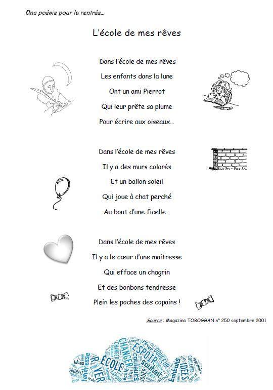 Poesie Mon Ecole Est Plein D Images : poesie, ecole, plein, images, Rallye-Liens, Poésies, Rentrée, Poesie, Ecole,, Poésie, Rentrée,
