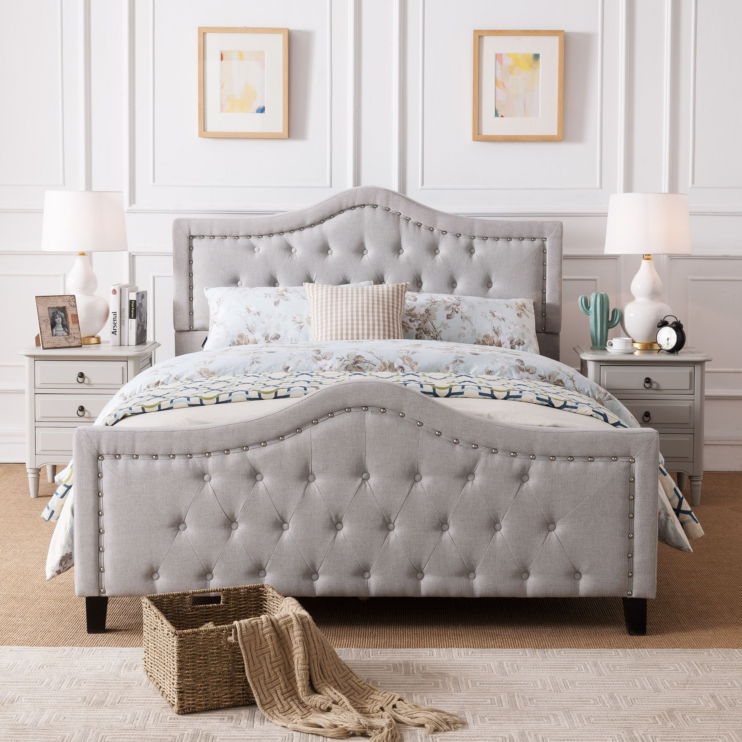 Virgil upholstered tufted fabric queen bed set by christopher knight
