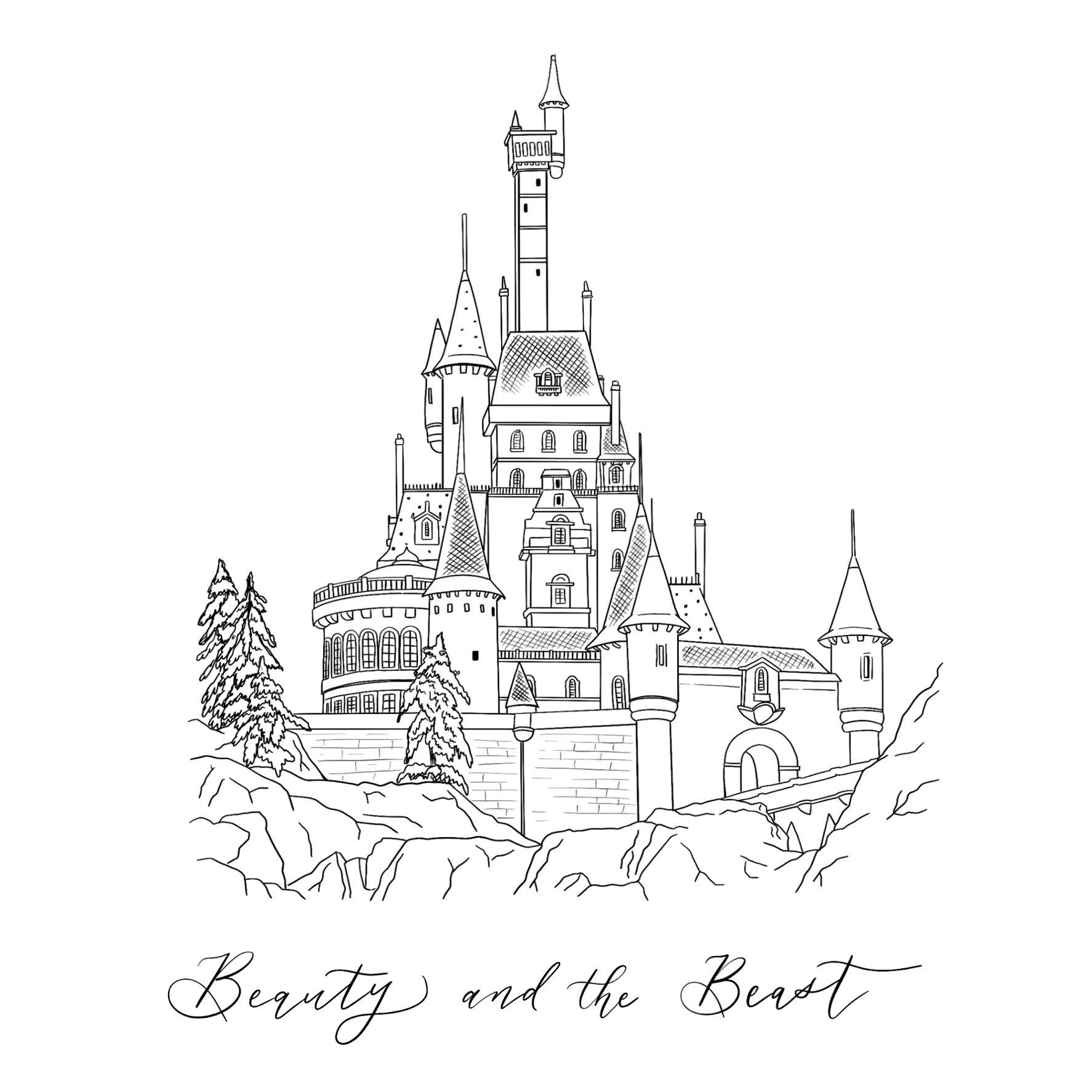 Beauty Beast Castle Hand Drawn Digital Illustration Etsy In 2020 Disney Castle Drawing Castle Illustration Beast S Castle