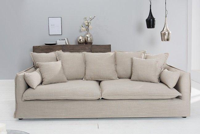 #Extravagant Großes Hussensofa HEAVEN Leinenstoff In Beige 3er Sofa 215cm,  Farbe: Beige,