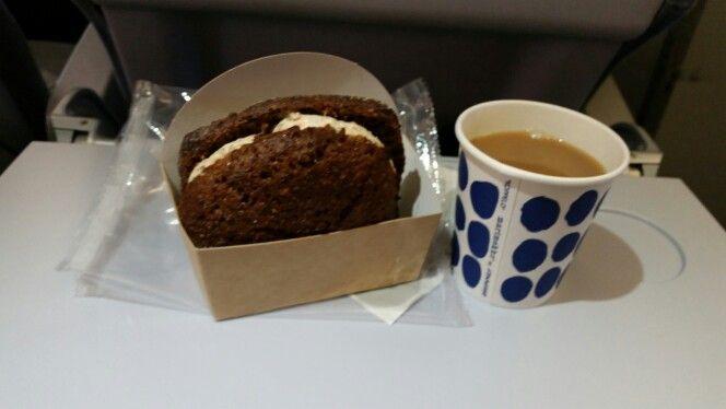 Salmon on malted bread sandwich with coffee on Finnair Flickr, London to Helsinki