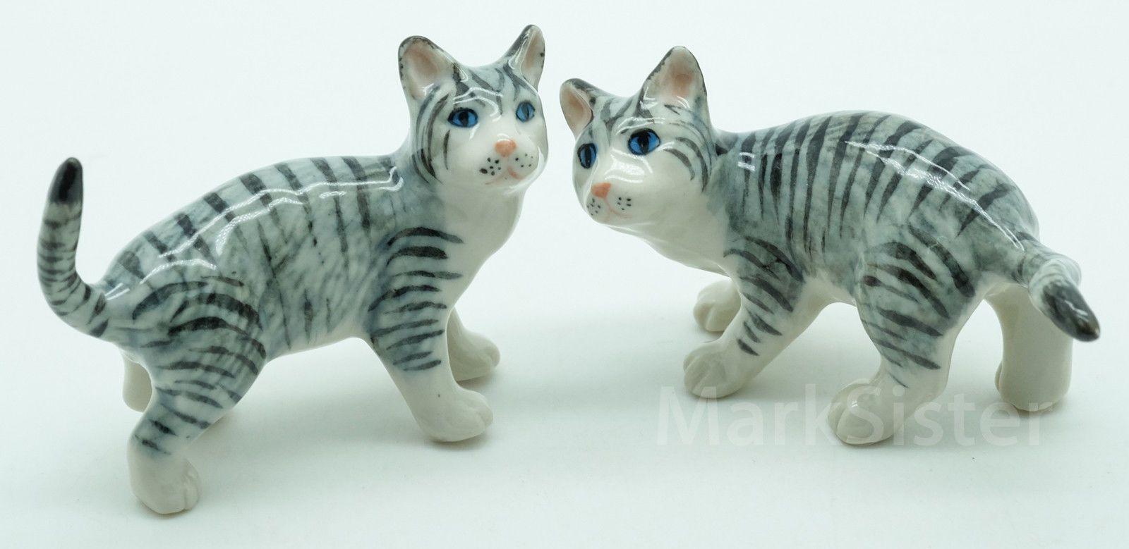 Details about Figurine Animal Miniature Ceramic Statue 2 Gray Cat Kitten…