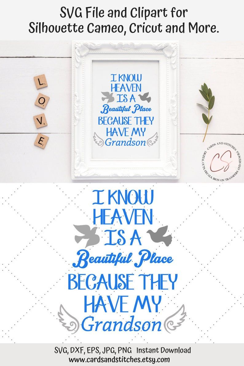 Download Grandson in Heaven SVG and Clipart Great for Silhouette ...