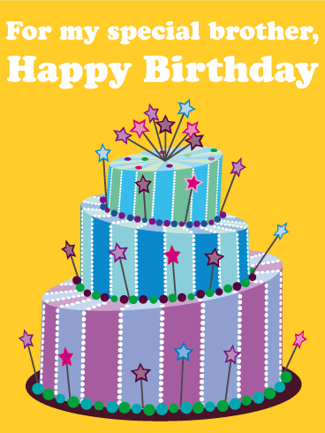 Funky Birthday Cake Card For Brother Birthday Greeting Cards By Davia Birthday Cake Messages Happy Birthday Pictures Birthday Cards For Brother