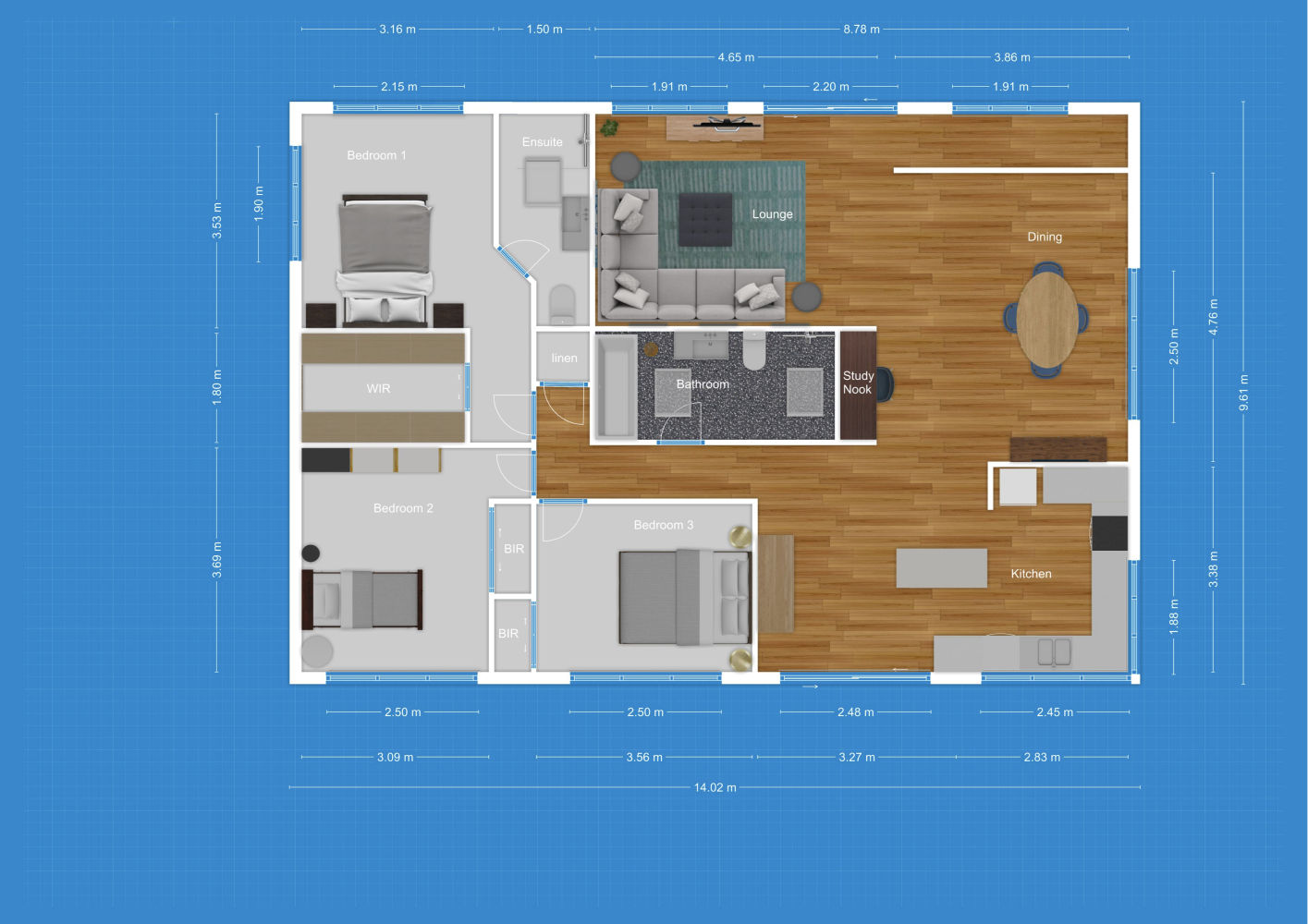 2d Floor Plan In Blueprint Mode Created With Floorplanner Com Floor Plans Create Floor Plan Office Space