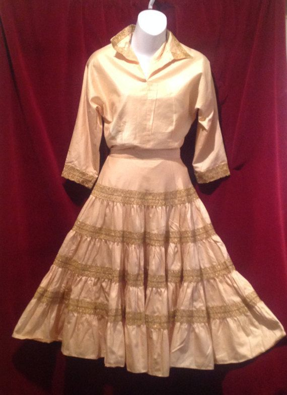 0371a482e6 1950s Mexican Dress - Yellow with GOLD Embroidery / Long Sleeve ...
