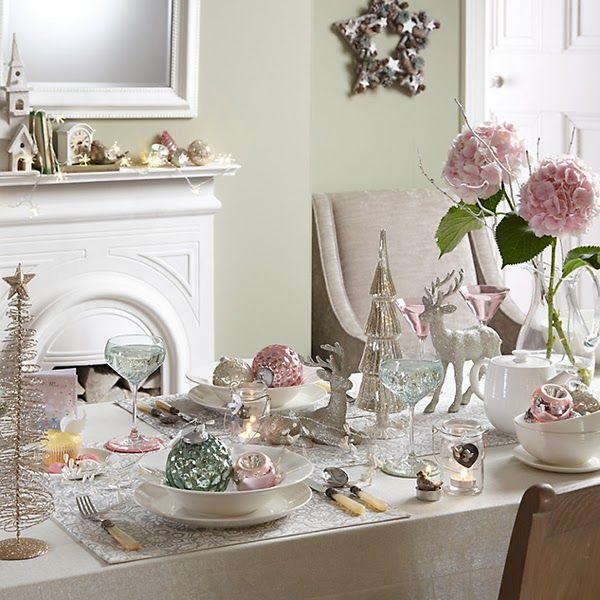 Heart Handmade Uk Themes For A John Lewis Christmas Pastel Christmas Decor Pink Christmas Table Christmas Table Settings